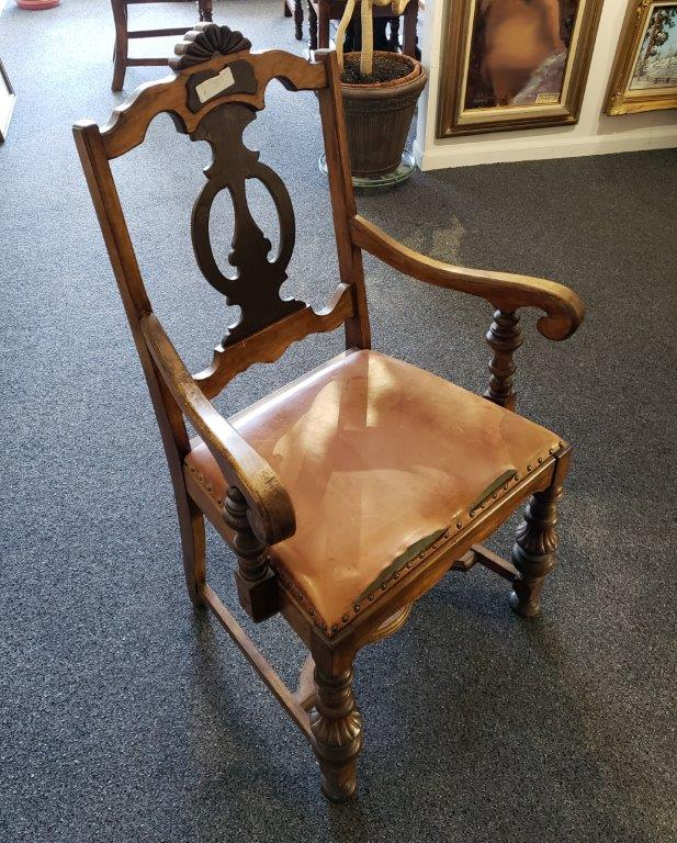 Solid wood chair with leather top