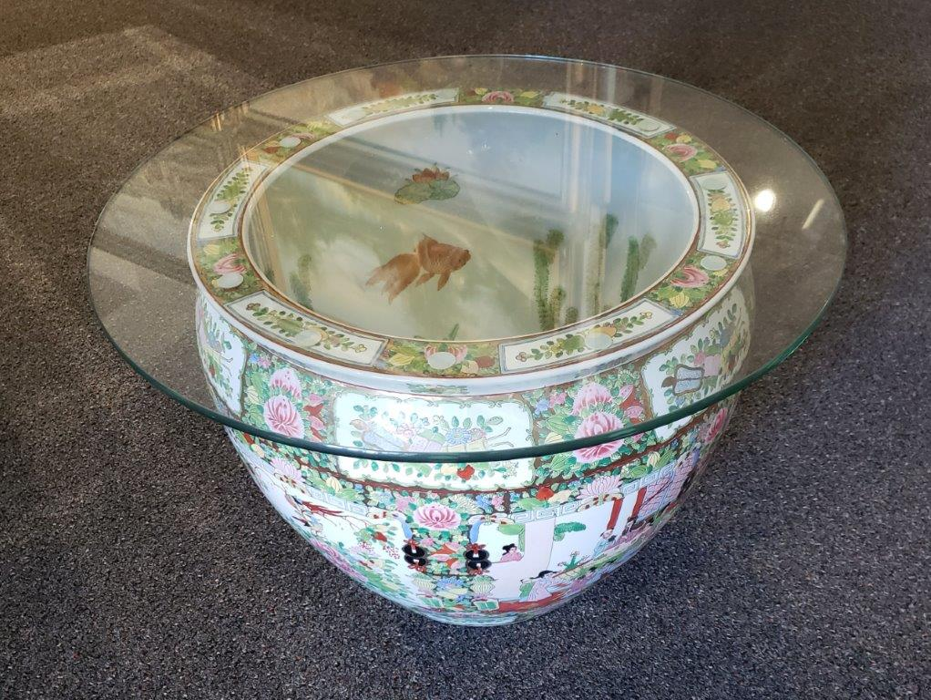 Vintage 20th Century Chinese Porcelain Fish Bowl With Round Glass Top as Coffee or Center Table